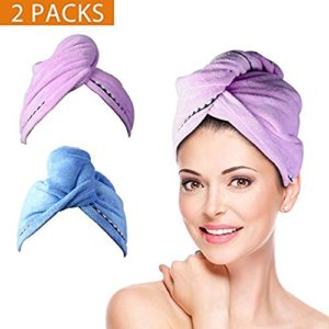 Hair Towel Wrap Turban Microfiber Drying Bath Shower Head Towel with Buttons