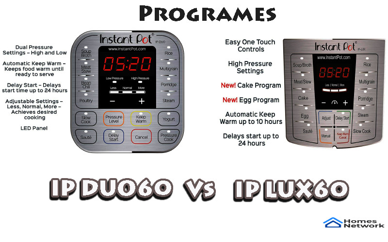 Instant Pot Lux60 vs DUO60 Programs