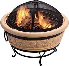 Peaktop Concrete Intricate Design Charcoal and Wood Burning Fire Pit