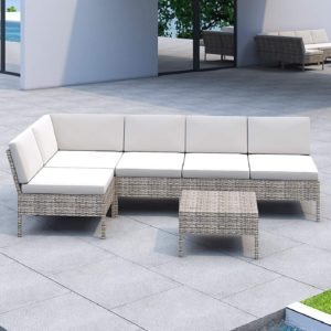 LOKATSE HOME 6 Pieces All-Weather Rattan Patio Sectional Sofa Set Wicker Outdoor Furniture