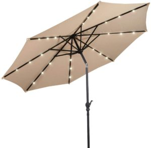 Giantex 10ft Solar Patio Umbrella Outdoor with Lights, 8 Ribs Steel Market Umbrella