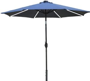 JFFFFWI 2.5M Garden Parasol Umbrella with Solar Light Bar Winding Crank and Tilt Function Outdoor Patio Beach Sun Shade
