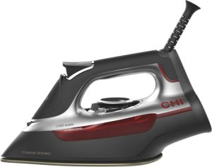 CHI Steam Iron for Clothes with Titanium Infused Ceramic Soleplate, 1700 Watts, XL 10' Cord, 3-Way Auto Shutoff, 300+ Holes, Professional Grade, Silver (13101)