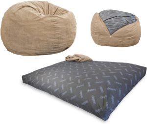 CordaRoy's Corduroy Bean Bag Chair, Convertible Chair Folds from Bean Bag to Bed
